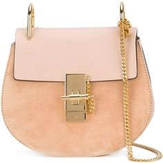 Chlo? Peach 'Drew' Shoulder Bag ($1,750) ❤ liked on Polyvore featuring bags, handbags, shoulder bags, peach, pink shoulder bag, chain strap purse, pink shoulder handbags, chain handle handbags and chloe handbags