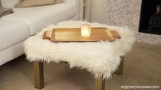 diy furry ottoman ikea hack with lack table for a small living room Lack Table Hack, Coffee Table Hacks, Ikea Table Hack, Ikea Lack Coffee Table, Crate Ottoman, Ottoman Table, Laquer Une Table, Diy Kallax, Houses