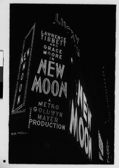 "Walker EVANS :: Neon Sign at Night for ""New Moon"", Times Square, New York City, 1930"