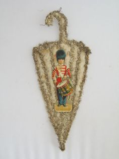 Antique Christmas Flat Umbrella Toy Soldier Scrap Tinsel Cotton | eBay