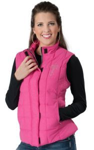 Wired Heart® Women's Hot Pink with Embroidered Cross and Crystals Puff Vest | Cavender's