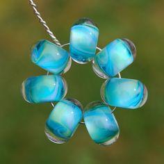Splash  Set of 7 Encased Lampwork Beads  Dan O Beads by koregon, $16.00