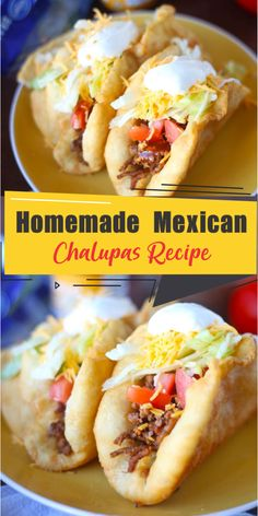 If you like Taco Bell's Chalupas you will love this Homemade Chalupas Recipe that you can make at home! The bread is easy to make and fill with whatever you want! Mexican Dishes, Mexican Food Recipes, Beef Recipes, Cooking Recipes, Taco Bell Recipes, Mexican Chalupas Recipe, Recipe For Chalupas, Chalupa Bread Recipe, Homemade Tacos