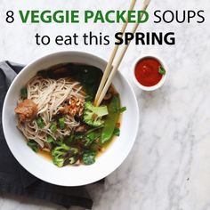 Spring veggie soups Miso Soup, Veggie Soup, Soba Noodles, Soup Recipes, Real Food Recipes, Vegetarian Recipes, Soup And Salad, Soups And Stews, Chowders