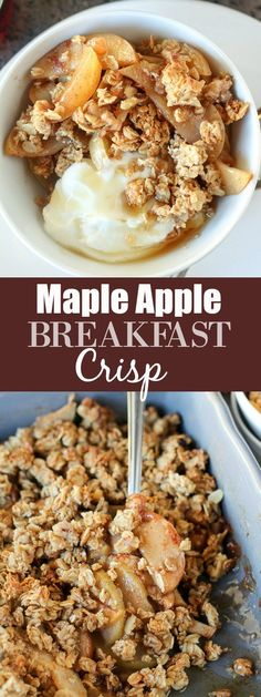 Maple Apple Breakfast Crisp - A comforting and wholesome Apple Breakfast Crisp that is sweetened with pure maple syrup, spiced with cinnamon and topped with a whole- grain oat and walnut topping. Serve with yogurt and a drizzle of maple syrup for a delicious and way to start your day.