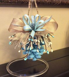 Blue pinecone ornament spring decor anniversary gift