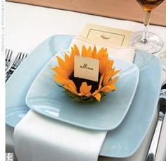 place card in sunflower holder