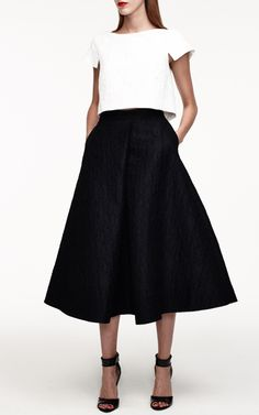 Monique Lhuillier Resort 2015: white cap sleeve crop top + black midi skirt