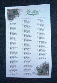 Seating Chart-Peacock Feathers