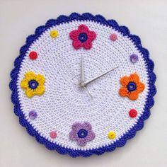 Crochet nursery wall clock with bright flowers and by crocheTime Crochet Potholders, Crochet Motifs, Crochet Doilies, Crochet Flowers, Crochet Patterns, Granny Square Häkelanleitung, Granny Square Crochet Pattern, Crochet Gifts, Crochet Toys