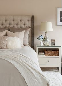 Diamond tufting + bedside styling