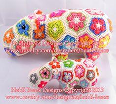 Ravelry: Happypotamus The Happy Hippo Crochet Pattern by Heidi Bears Tutorial Amigurumi, Crochet Amigurumi, Crochet Toys, Crochet Hippo, Crochet Lovey, Ravelry Crochet, Blanket Crochet, Crochet Motifs, Crochet Stitches