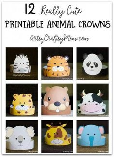 12 Adorable Animal Party printable hats for a Jungle party!