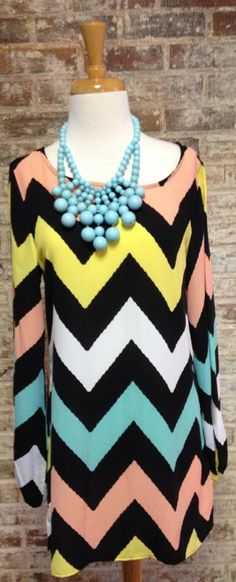 Mint Chevron tunic $80 <3 Pinned from Bella's Boutique <3 #Chevron #Spring