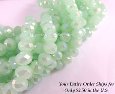36 Mint AB Glass Beads Opaque Light Green Translucent Abacus Rondelle Faceted 8x6mm - 36 pc - G6021-MGL36 by allearringsandsuppli on Etsy