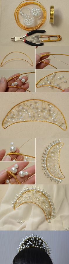 This Pandahall tutorial describes how to make a white pearl wedding crown headband. Hope you like this pearl crown headband and enjoy the DIY process. Crown Headband, Bridal Tiara, Headpiece Wedding, Wedding Crowns, Beaded Beads, Beads And Wire, Beaded Jewelry, Diy Hair Accessories, Bridal Accessories