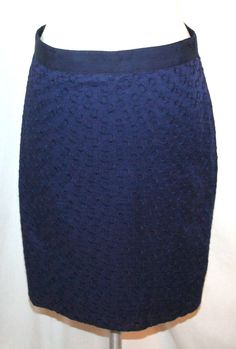 J. Crew Embroidered Cotton Navy Blue Pencil Skirt