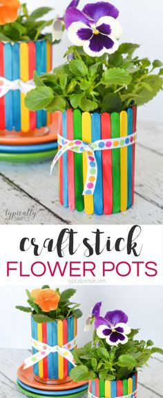 A colorful spring project to make with the kids, these craft stick flower pots are a no-mess craft and make an adorable homemade gift for Mother's Day or Teacher Appreciation. day crafts for kids Craft Stick Flower Pots Diy Mother's Day Crafts, Mother's Day Diy, Craft Stick Crafts, Creative Crafts, Preschool Crafts, Craft Ideas, Craft Activities, Craft Sticks, Craft Stick Projects
