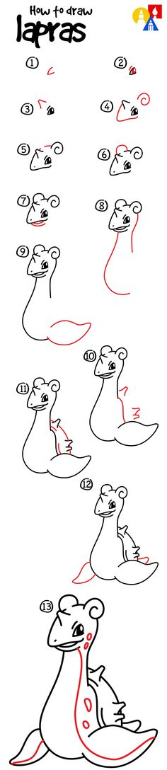 To Draw Lapras - Art For Kids Hub - How to draw Lapras from Pokemon!How to draw Lapras from Pokemon! Doodle Drawings, Cartoon Drawings, Easy Drawings, Animal Drawings, Drawing Sketches, Lapras Pokemon, Pokemon Go, How To Draw Pokemon, Pikachu Drawing