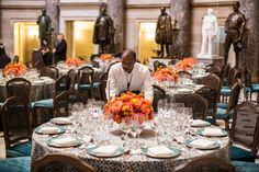 Americans Gather for the Inauguration - Slide Show - A caterer arranged place settings for a luncheon in Statuary Hall in the Capitol.