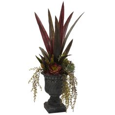 27-inch-Mixed-Succulent-Bush-with-Round-Grey/Black-Urn $95