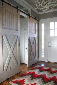 Navajo rug and sliding barn doors.