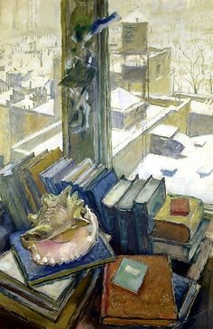 "Dobuzhinsky, Mstislav (1875-1957) - 1943 ""New York Rooftops, My Windows in New…"