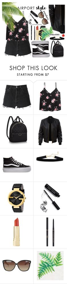"""""""Jet Set: Airport Style"""" by basmahahmed ❤ liked on Polyvore featuring RE/DONE, LE3NO, Vans, Gucci, Bobbi Brown Cosmetics, Yves Saint Laurent and Linda Farrow"""