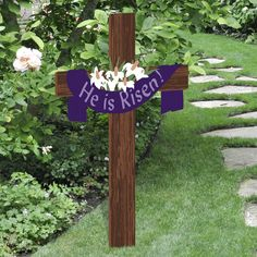 easter religious outdoor yard decoration wood sign with cross
