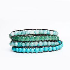 mixed stone wrap $45 | www.busywrist.com #wrapbracelets #busywrist #turquoise
