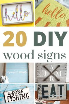 Looking for a cheap and easy way to decorate your walls Make your own wood sign! You'll love these 20+ wooden sign ideas to inspire you. Diy Wood Signs, Painted Wood Signs, Easy Crafts, Diy And Crafts, Paper Crafts, Diy Furniture Projects, Diy Wood Projects, Diy Artwork, Artwork Ideas