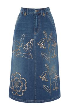 RED VALENTINO Macroflower Studded Denim Skirt. #redvalentino #cloth #skirt
