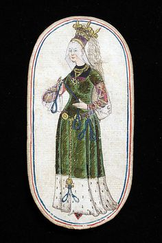 "Playing Card; South Netherlandish, ca. 1470-80 - Two watermarks appear in the paper of these cards. One is in the form of a fork-tailed Gothic letter ""p"" surmounted by a quatrefoil and appears at least in part, on the 2 of Nooses, the 2 of Dog Collars and the queen of Horns. The other is a shield with the letters ""iado"" surmounted by a crozier which appears, at least in part, on the 1,5,8 and 10 of Dog Collars, the 1,2 and knave of Nooses and the 8 of Horns."