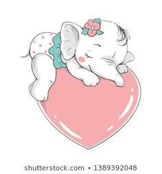 Vector illustration of a cute baby girl elephant, sleeping on a big pink heart. Illustration Mignonne, Illustration Vector, Illustrations Posters, Baby Girl Elephant, Cute Elephant, Elephant Design, Cute Baby Girl, Cute Babies, Art Mignon