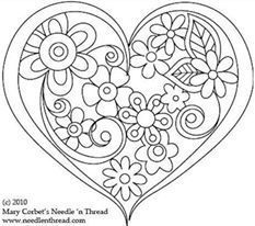 Hand Embroidery Pattern: Heart o' Flowers Free Hand Embroidery Pattern: Heart o' Flowers. I need to applique this pattern.Free Hand Embroidery Pattern: Heart o' Flowers. I need to applique this pattern. Embroidery Hearts, Paper Embroidery, Vintage Embroidery, Cross Stitch Embroidery, Embroidery Tattoo, Embroidery Letters, Flower Embroidery, Japanese Embroidery, Embroidery Designs