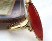 Vintage Avon Art Deco Revival Carnelian Glass Ring