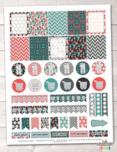 Teal Orange Red Printable Planner Stickers Weekly Kit – Instant Download PDF for your Erin Condren Life Planner