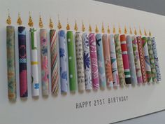 This 21st birthday card has 21 hand rolled paper candles on it with glittering flames. It can also be customised for ages 20,22,23,24,25,26. It can be personalised by having a name stamped on the front which is free of charge (see last picture for example). To request this you must add a note to seller on your order. Female cards will be made using a more feminine selection of colours and papers and male in a more masculine selection. Due to the handmade nature of this card each one will…