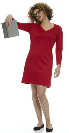 V-Neck Raglan Dress in Perfect Red. Little Day Dress