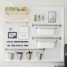 craft room office / craft room ideas & craft room organization & craft room storage & craft room design & craft room & craft room office & craft room ideas on a budget & craft room decor Pegboard Organization, Office Supply Organization, Home Organization Hacks, Organizing Ideas, Office Storage, Jewelry Organization, Kitchen Organization, Craft Room Design, Craft Room Storage