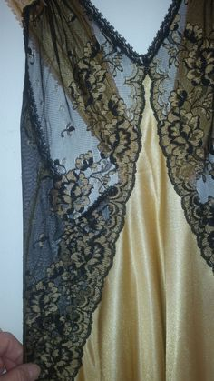 1980's Nightgown Bombshell Sheer Black Lace and Gold 100% Vivana Nylon Size XS Slinky Sexy Negligee Made in USA Thigh High Side Slits by ZoomVintage on Etsy
