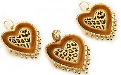 "Zlatá exkluzívna súprava náušnice a prívesok ,,Hearts of leopard"" 14 K zlato"