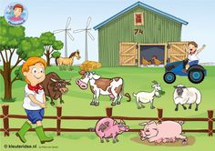 TOUCH this image: Interactieve praatplaat, thema boerderij, kleuteridee.nl by juf Petra Dog Coloring Page, Coloring Pages, Farm Pictures, Picture Composition, Cartoon Art Styles, Childhood Education, Pre School, Preschool Activities, Farm Animals