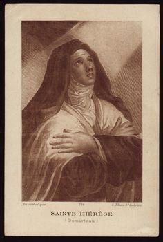 Teresa of Jesus Saint Teresa Of Avila, Virgin Mary Art, Catholic Beliefs, Sainte Therese, Divine Mercy, Prayer Cards, Comic Art, Artwork, Compass