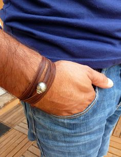 Perle de Tahiti, bracelet homme, cuir australien