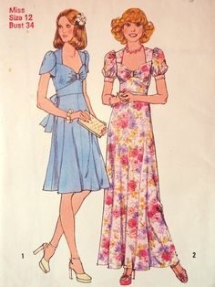 Vintage Simplicity 6500 1970s sewing pattern  Gorgeous bodice details with lines around the bust, sweetheart neckline with slight ruching. Choice of