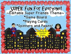 $1.50 Each kid is SUPER!  Be their HERO and create personalized games for your students that meet their specific needs and what you are working on!If making games for your class has you in a dizzy, check out this editable set that lets you make a personalized game with a BAM and POW that is sure to keep your students engaged in learning!Looking for a fun game center activity?