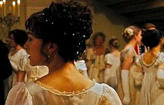 """""""Lizzie doesn´t really give much thought to her appearance. But, for this ball, she´s made a bit of an effort, to impress Mr. Wickham. And in the end, ends up impressing  Darcy instead.""""        (Joe Wright, Director)"""