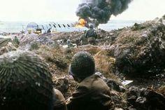 Argentine troops take cover during Port Stanley conflict. Falklands war