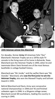 Doc Blanchard - 1945 Heisman Memorial Trophy Winner - Army - USMA - United States Military Academy Black Knights